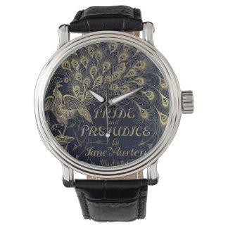 Pavo real antiguo del orgullo y del perjuicio de relojes de mano
