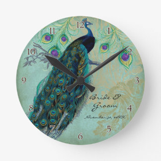 Pavo real antiguo y boda personalizado aguafuertes relojes de pared