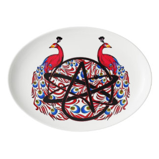 Pavo real ateo amable badeja de porcelana