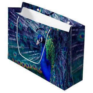 Pavo real azul bolsa de regalo grande