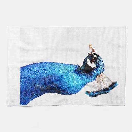 Pavo real azul brillante toalla de mano