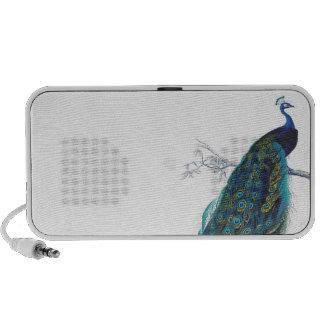 Pavo real azul con las plumas de cola hermosas mp3 altavoces