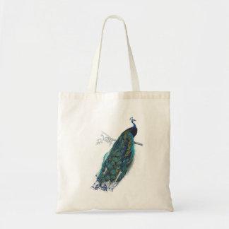 Pavo real azul con las plumas de cola hermosas bolsas lienzo