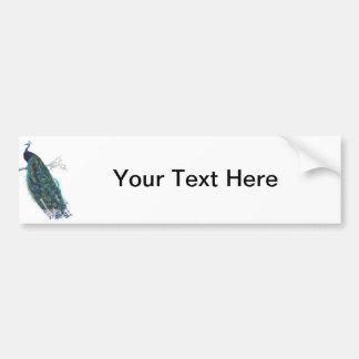 Pavo real azul con las plumas de cola hermosas pegatina de parachoque