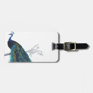 Pavo real azul con las plumas de cola hermosas etiquetas para equipaje