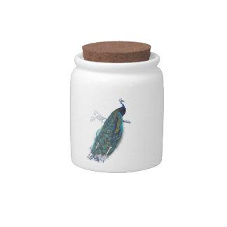 Pavo real azul con las plumas de cola hermosas jarra para caramelo
