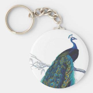Pavo real azul con las plumas de cola hermosas llaveros personalizados