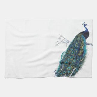 Pavo real azul con las plumas de cola hermosas toalla de cocina