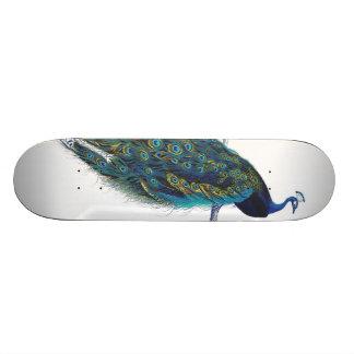 Pavo real azul con las plumas de cola hermosas patineta personalizada
