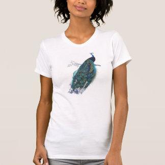 Pavo real azul con las plumas de cola hermosas camiseta
