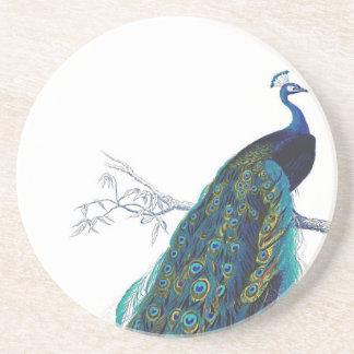 Pavo real azul con las plumas de cola hermosas posavasos manualidades