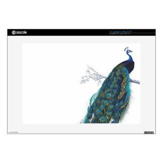 Pavo real azul con las plumas de cola hermosas skins para portátiles