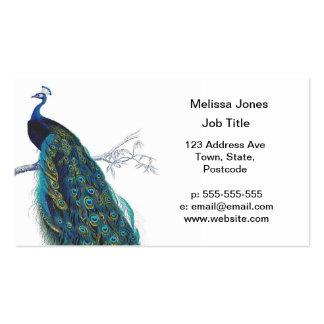 Pavo real azul con las plumas de cola hermosas tarjetas de visita