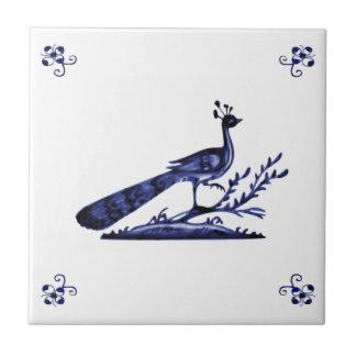Pavo real azul de Delft Azulejo Cuadrado Pequeño