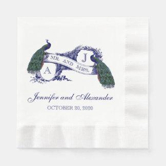 Pavo real azul del monograma que casa las servilleta de papel