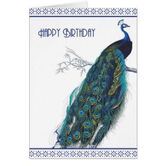 Pavo real azul del vintage - tarjeta del feliz cum