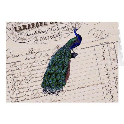 Pavo real azul elegante francés del vintage tarjeta de felicitación