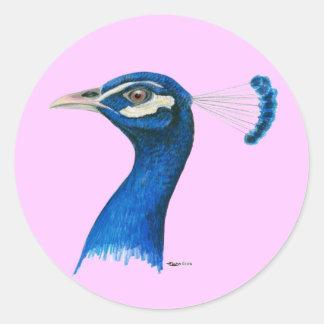 Pavo real:  Azul indio Pegatina Redonda