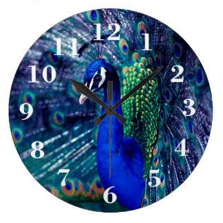 Pavo real azul reloj redondo grande