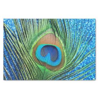 Pavo real azul reluciente papel de seda pequeño