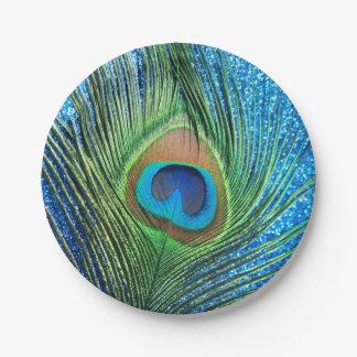 Pavo real azul reluciente plato de papel de 7 pulgadas