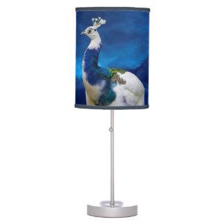 Pavo real azul y blanco lámpara de mesa