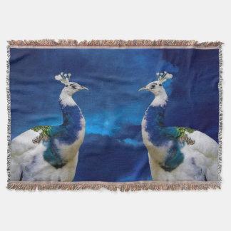 Pavo real azul y blanco manta