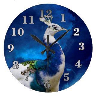 Pavo real azul y blanco reloj redondo grande