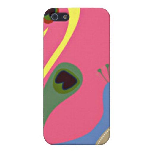 pavo real banal colorido en rosa iPhone 5 cobertura