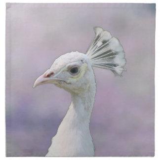 Pavo real blanco del albino contra la parte poster servilleta de papel