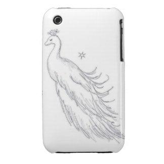 Pavo real blanco el dormir carcasa para iPhone 3