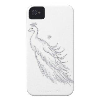 Pavo real blanco el dormir carcasa para iPhone 4
