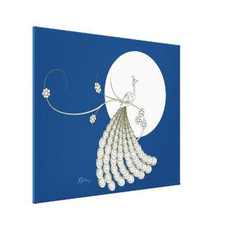 Pavo real blanco elegante con la luna impresión en lienzo