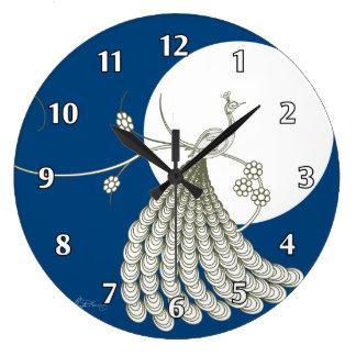 Pavo real blanco elegante reloj redondo grande