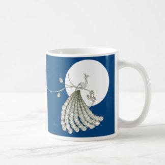 Pavo real blanco elegante taza de café