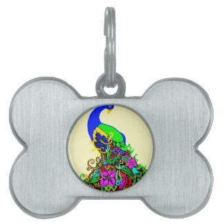 pavo real bonito placa de nombre de mascota