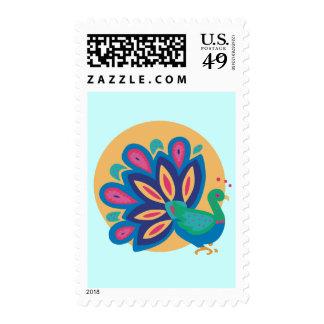 Pavo real bonito uno sello