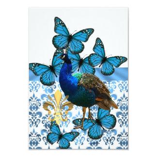 """Pavo real bonito y mariposas azules invitación 3.5"""" x 5"""""""