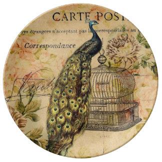 pavo real botánico francés del vintage del nouveau plato de porcelana