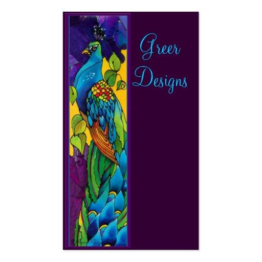 Pavo real brillante y colorido tarjetas de visita