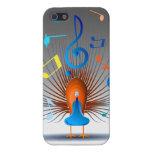 Pavo real colorido de las notas musicales iPhone 5 funda