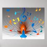 Pavo real colorido de las notas musicales impresiones
