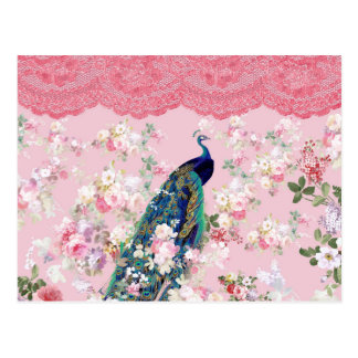 Pavo real colorido del cordón elegante floral postales