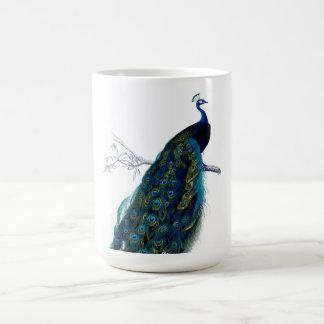 Pavo real colorido elegante azul del vintage taza básica blanca