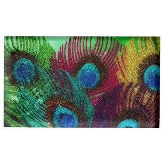 Pavo real colorido soportes para tarjetas de mesa