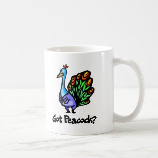 Pavo real conseguido taza de café