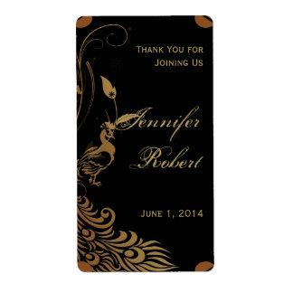 Pavo real de bronce del art déco y etiqueta floral etiqueta de envío