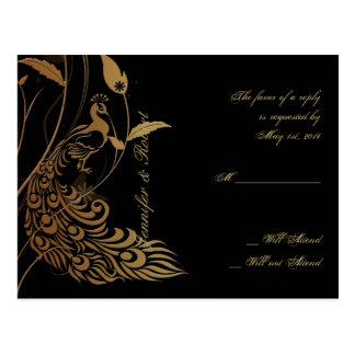 Pavo real de bronce del art déco y postal floral d