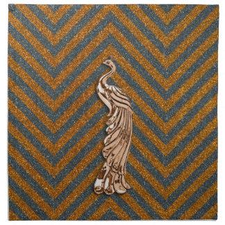 Pavo real de cobre del brillo servilletas de papel