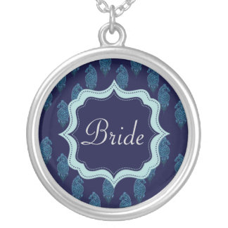 Pavo real de la alheña (azul) (boda) colgantes personalizados